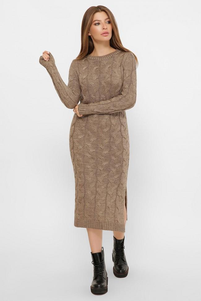 """Длинное теплое платье цвета капучино - """"LOLO"""" VPD0016"""
