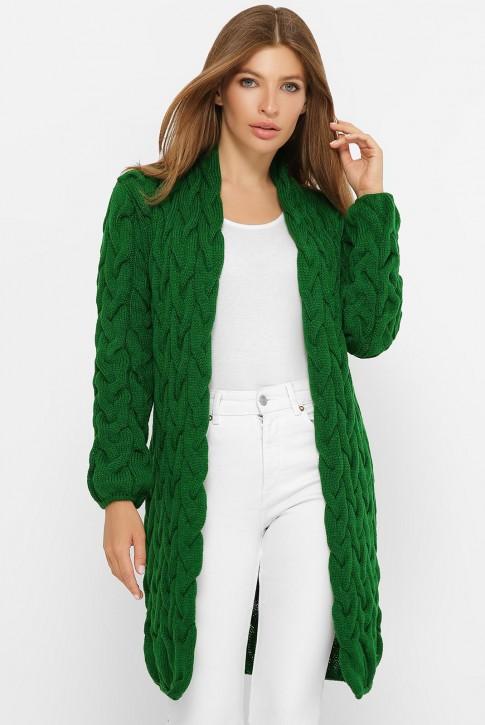 Короткий зеленый кардиган лало вязаный