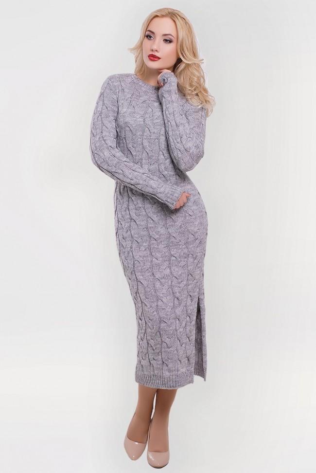 Платье женское светло-серое вязаное