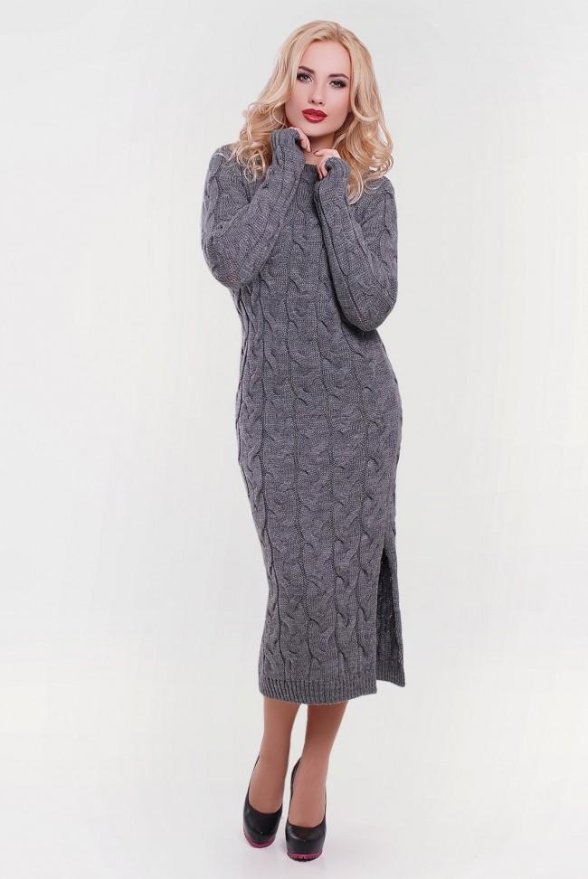 Стильное вязаное платье графитового цвета