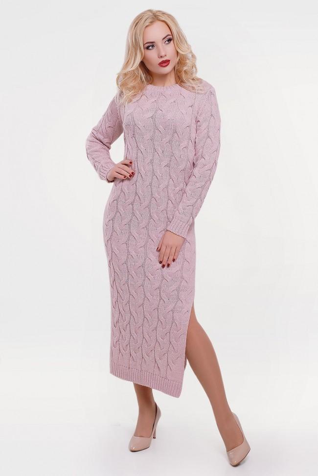 Женственное вязаное платье цвета пудра - VPD0002