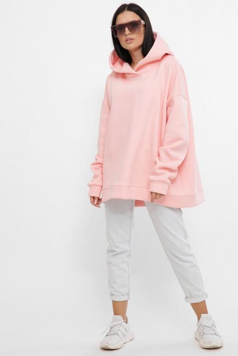 Теплый хлопковый худи оверсайз, розовый HD-10ZP (фото 2)