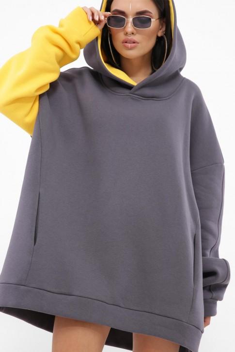 Комбинированный теплый худи, желтый рукав HD-10BY (фото 2)