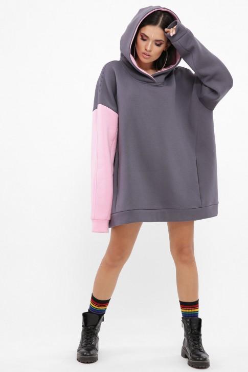 Комбинированный теплый худи, розовый рукав HD-10BP (фото 2)
