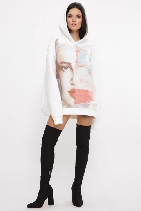 Теплый худи оверсайз с арт-принтом девушки, молочно-белый HD-10ZM3 (фото 2)