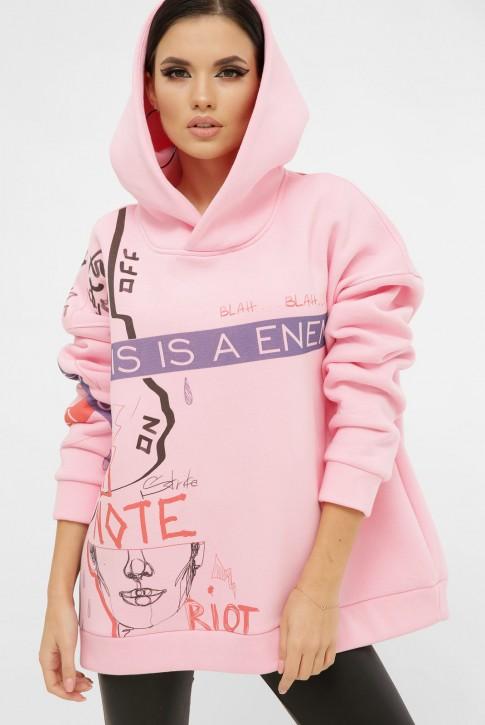 Теплый худи с надписями в бунтарском стиле, розовый HD-10ZP9