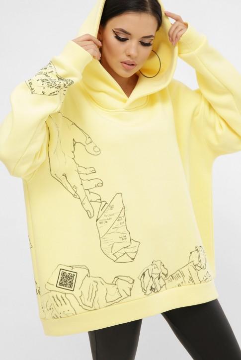 Теплый женский худи с QR пасхалками в принте, лимонный HD-10ZN10