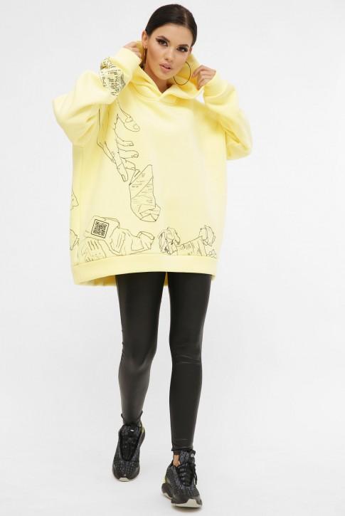 Теплый женский худи с QR пасхалками в принте, лимонный HD-10ZN10 (фото 2)