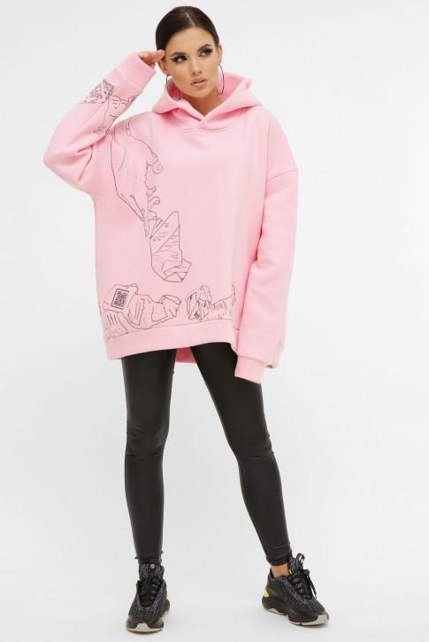 Теплый женский худи с QR пасхалками в принте, розовый HD-10ZP10