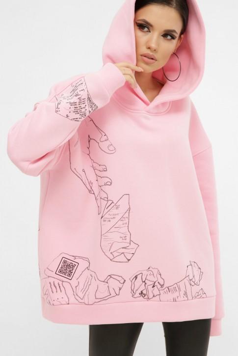 Теплый женский худи с QR пасхалками в принте, розовый HD-10ZP10 (фото 2)