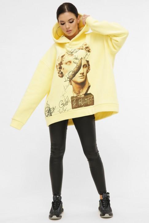 Теплый худи арт-принт Alexander the Great, лимонный HD-10ZN8