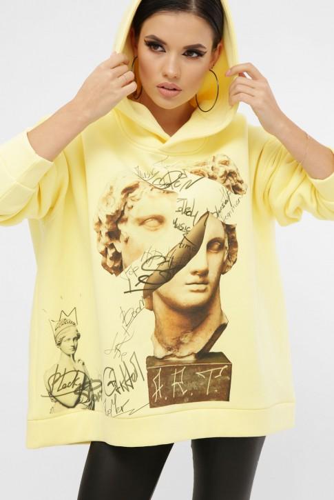 Теплый худи арт-принт Alexander the Great, лимонный HD-10ZN8 (фото 2)