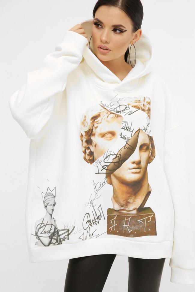 Теплый худи арт-принт Alexander the Great, молочно-белый HD-10ZM8