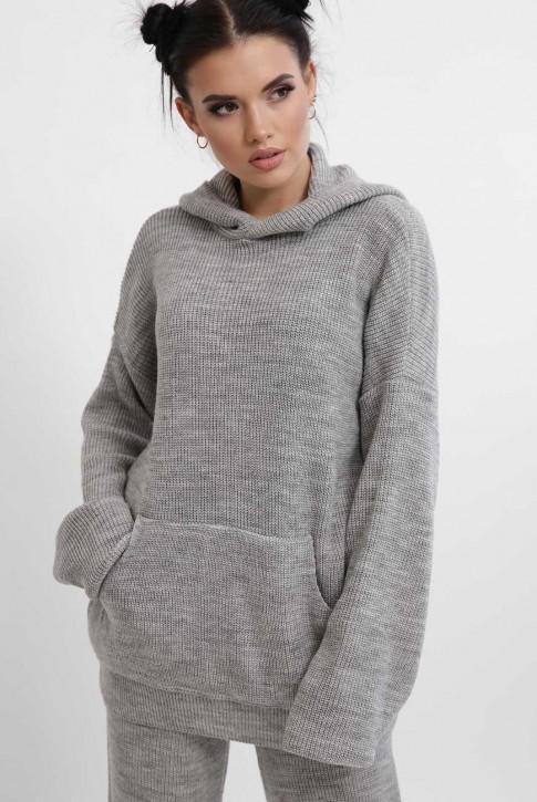 Вязаный брючный костюм женский, светло-серый KSM0004