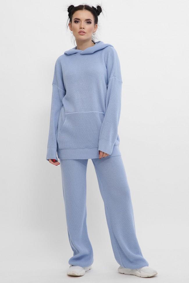 Вязаный брючный костюм женский, голубой KSM0003
