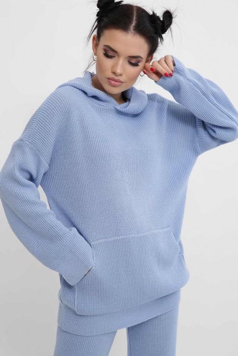 Вязаный брючный костюм женский, голубой KSM0003 (фото 2)