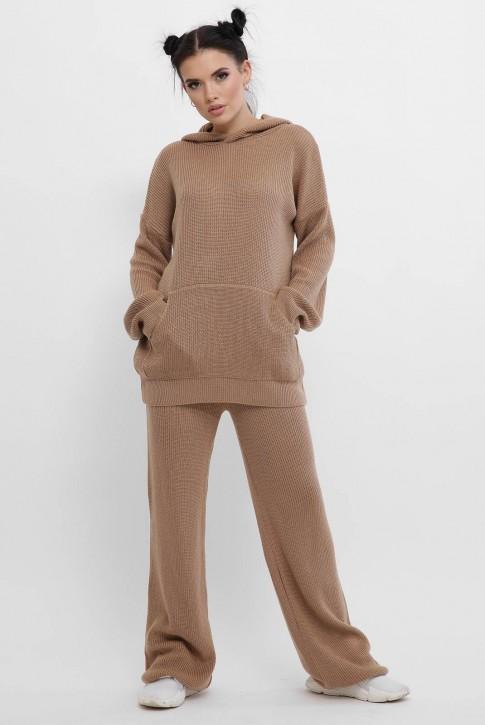 Вязаный брючный костюм женский, светло-коричневый KSM0001