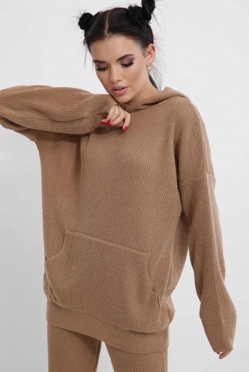 Вязаный брючный костюм женский, светло-коричневый KSM0001 (фото 2)