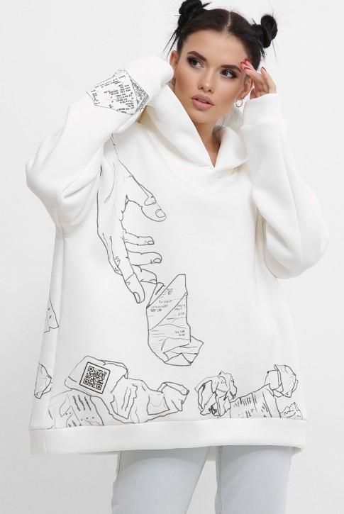 Теплый женский худи с QR пасхалками в принте, белый HD-10ZM10