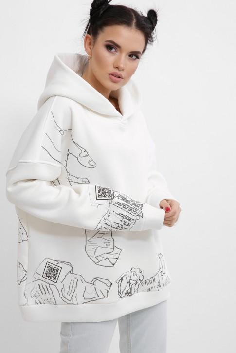 Теплый женский худи с QR пасхалками в принте, белый HD-10ZM10 (фото 2)