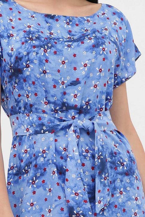 Cарафан с принтом - мелкие цветочки на голубом, PL-1471T (фото 2)