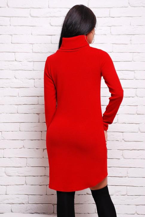Красное платье из ангоры с карманами (PL-1280A) (фото 2)