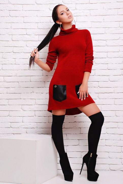 Платье бордового цвета с черными кожаными карманами (PL-1280F)