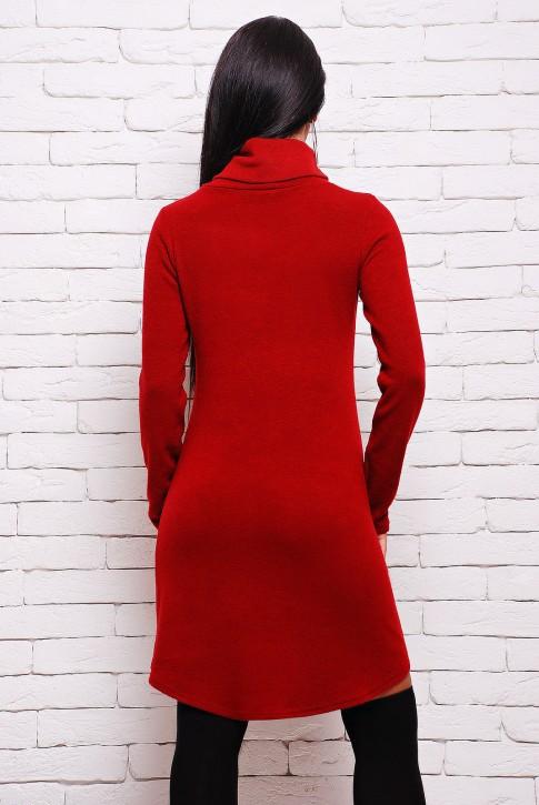 Платье бордового цвета с черными кожаными карманами (PL-1280F) (фото 2)
