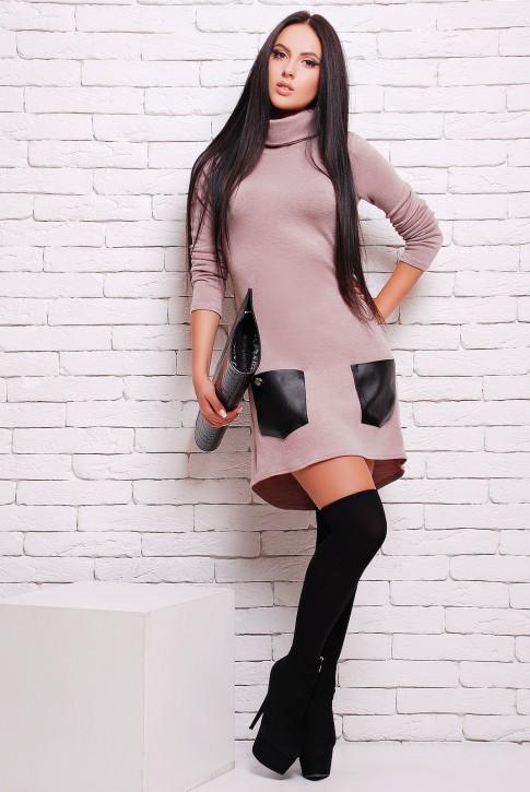 Платье из ангоры с черными кожаными карманами (PL-1280E)