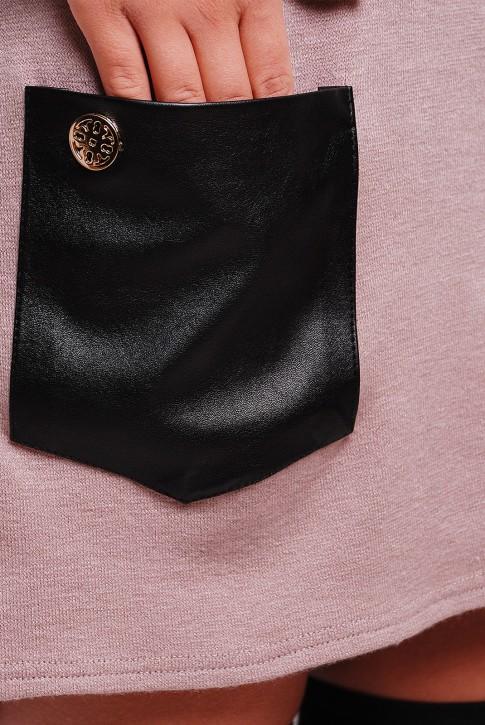 Платье из ангоры с черными кожаными карманами (PL-1280E) (фото 2)