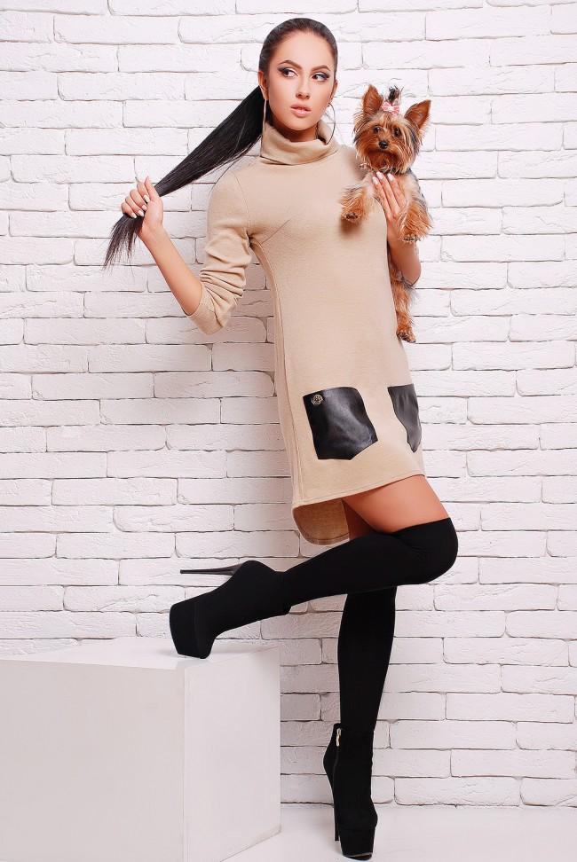 Бежевое платье из ангоры с кожаными карманами (PL-1280D)
