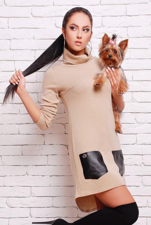 Бежевое платье из ангоры с кожаными карманами (PL-1280D) (фото 2)