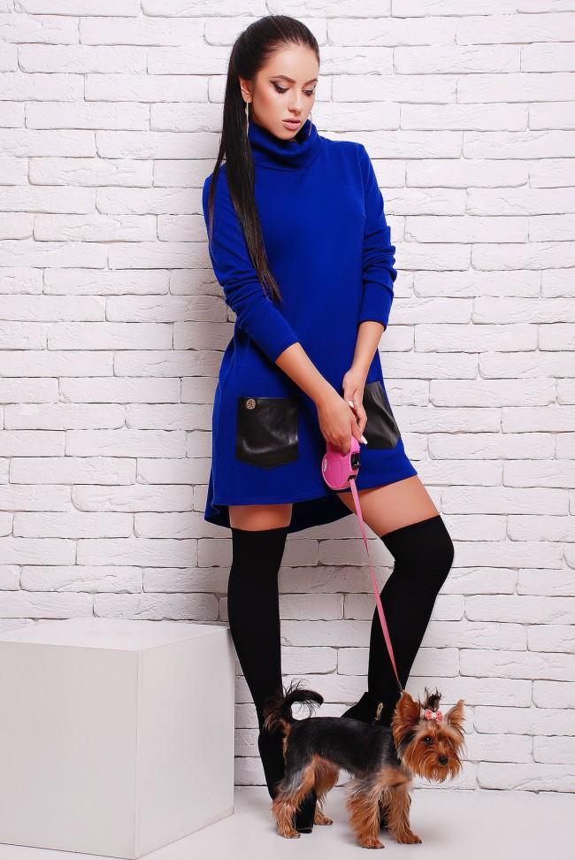Синее платье из ангоры с черными кожаными карманами (PL-1280B)