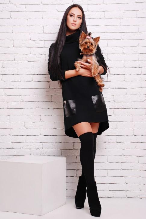 Черное платье из мягкой  ангоры с черными кожаными карманами (PL-1280A)