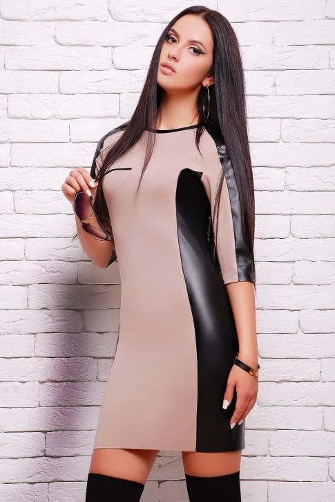 """Бежевое платье """"Insert"""" с кожаными вставками (PL-1292B)"""