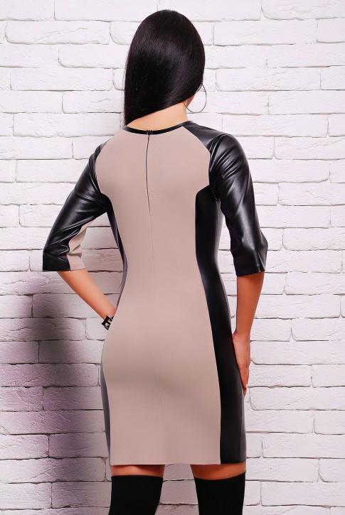 """Бежевое платье """"Insert"""" с кожаными вставками (PL-1292B) (фото 2)"""
