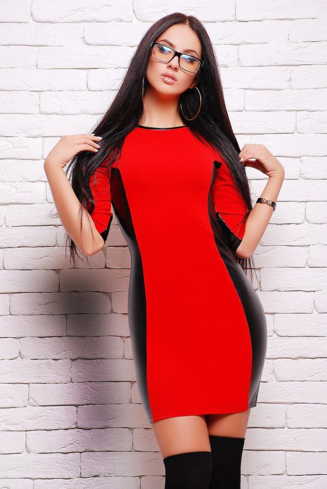 """Красное платье """"Insert"""" с кожаными вставками (PL-1292A)"""