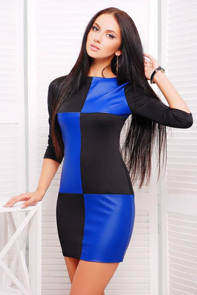 """Комбинированное платье """"Шахматы"""" (PL-1227A) из двух цветов - синий и черный"""