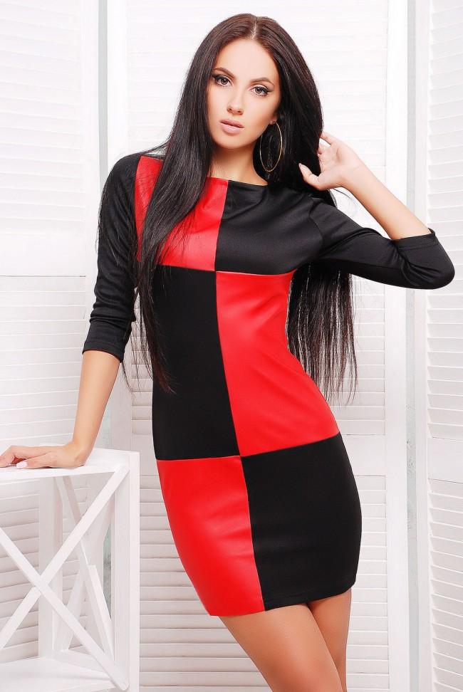 """Комбинированное платье красное с черным """"Шахматы"""" (PL-1227B)"""