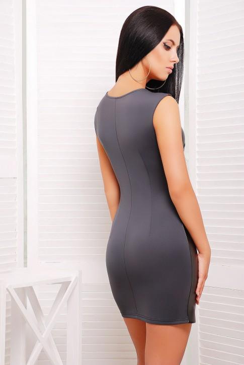 "Короткое серое платье футляр без рукавов - ""Кожа"" (PL-1214D) (фото 2)"