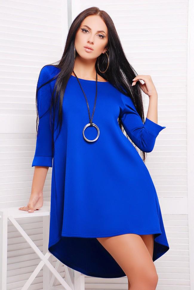 """Синее однотонное платье с асимметричным подолом - """"Шлейф"""" (PL-1229E)"""