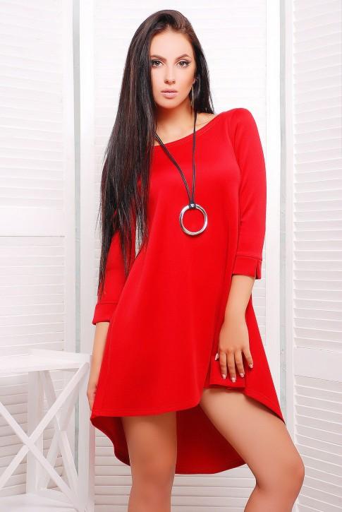 """Яркое красное платье-трапеция с асимметричным подолом - """"Шлейф"""" (PL-1229D)"""