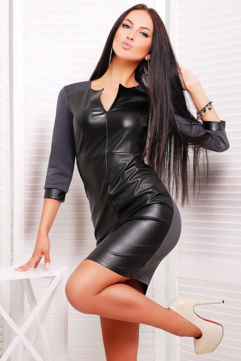 """Короткое серое платье с вставкой из черной экокожи - """"Karina"""" (PL-1226B)"""