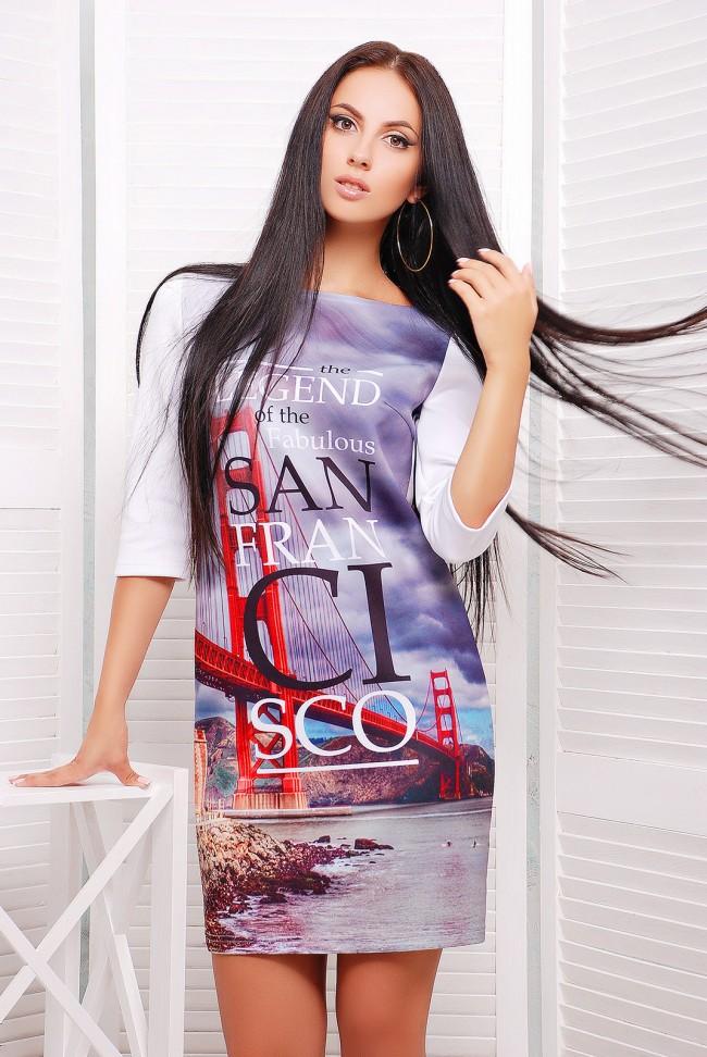 """Платье свободного покроя с рисунком """"SAN FRANCISCO"""" - """"Swan"""" (PL-1054C)"""