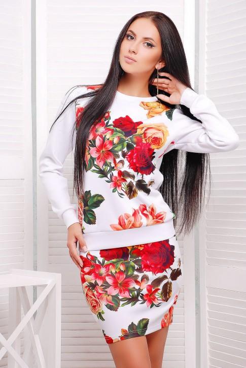 """Костюм женский двойка, белый с цветочным принтом - """"Roses"""" (KS-1211D)"""