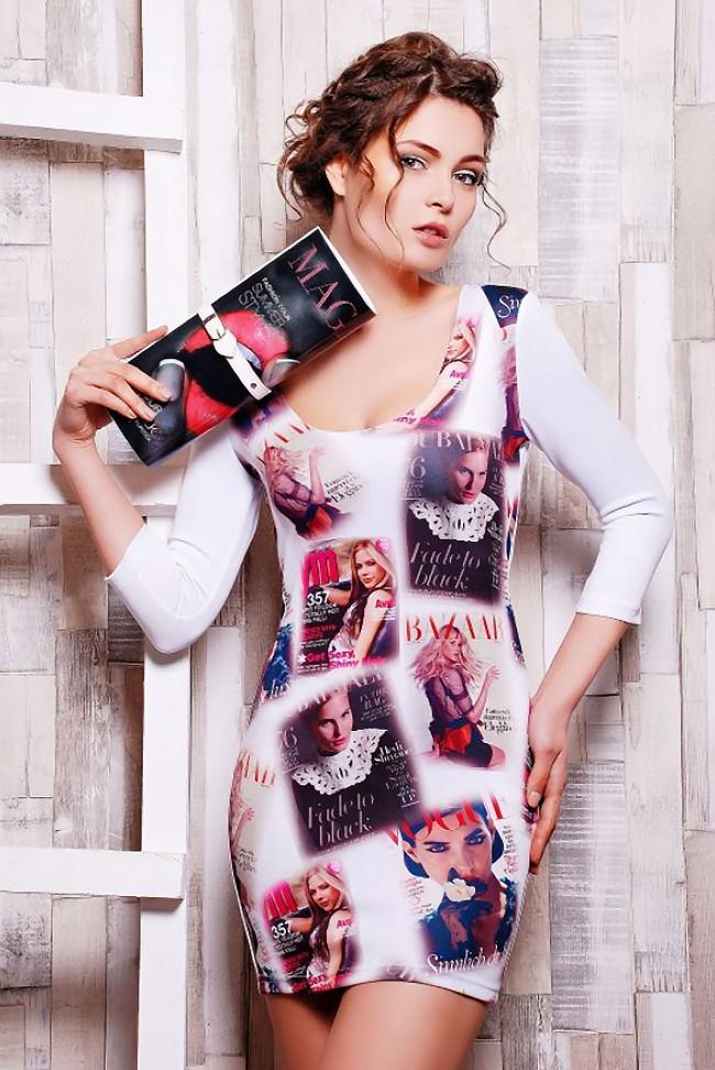 """Стильное платье с журнальным принтов """"Disco"""" (PL-1056C1)"""