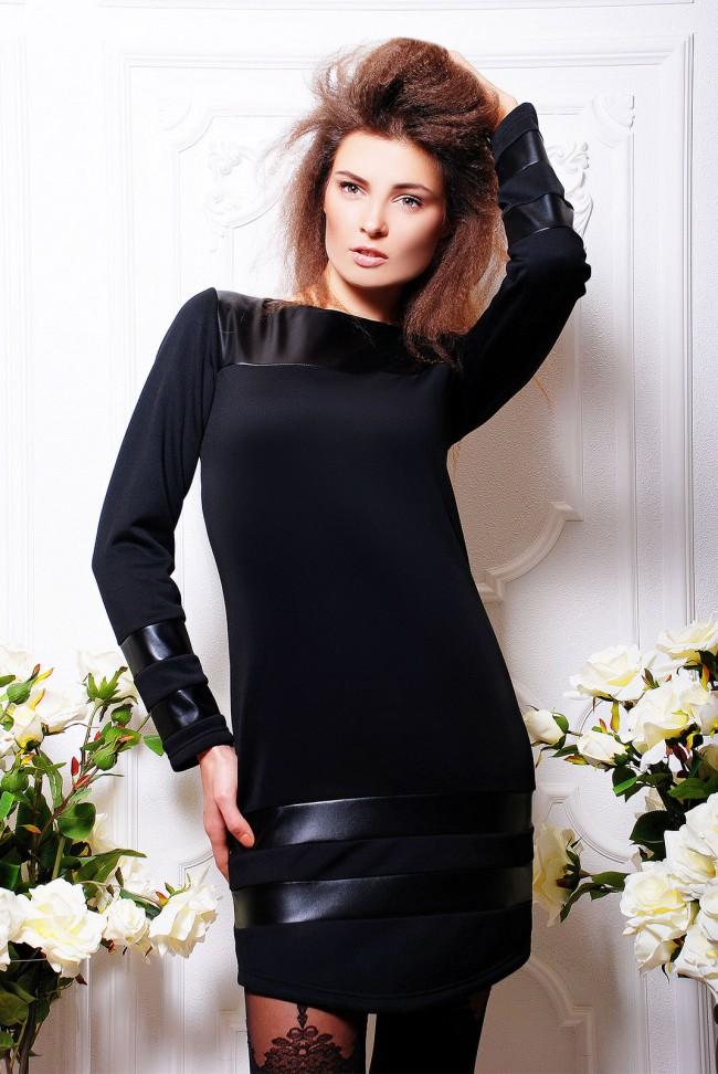 """Черное комбинированное платье из экокожи и черного дайвинга - """"Venus"""" (PL-1046)"""