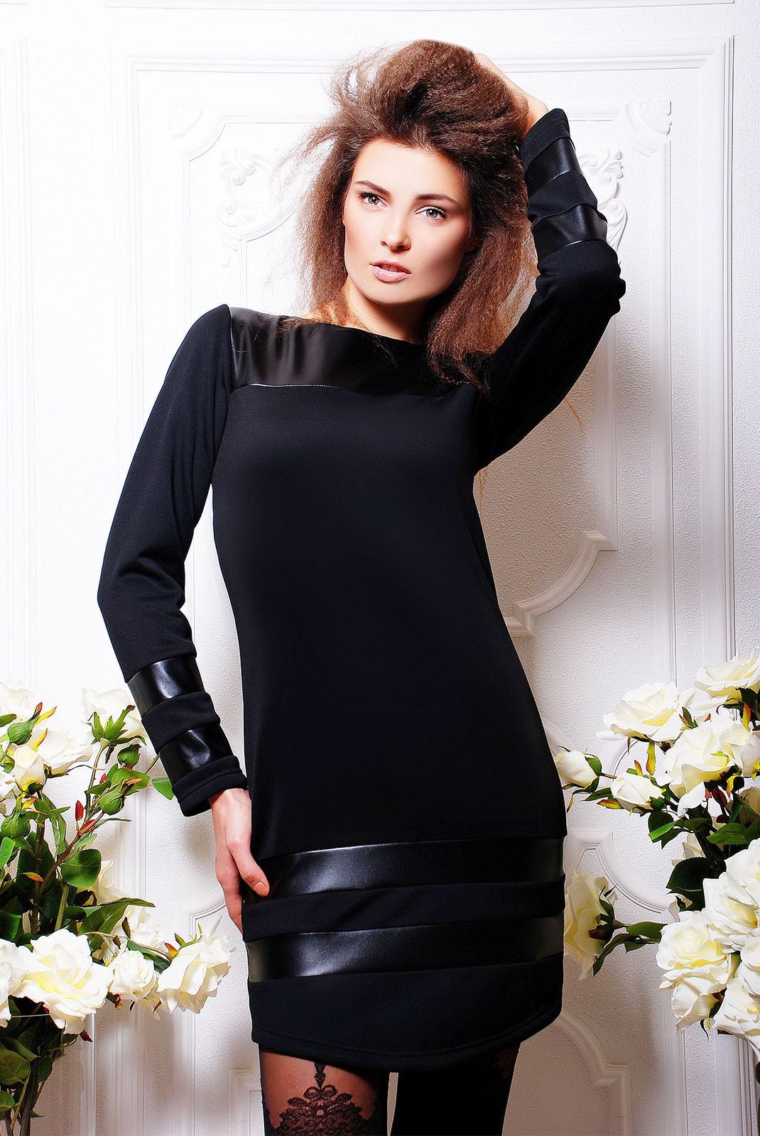 98a2eeb9ffa Черное комбинированное платье из экокожи и черного дайвинга -