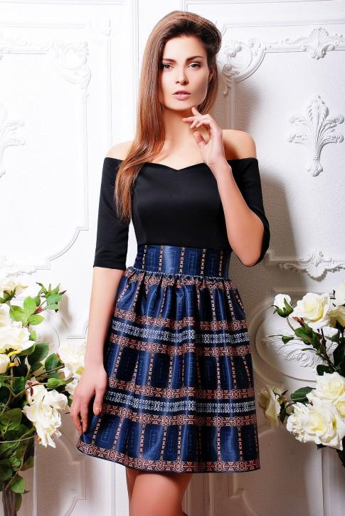 """Расклешенное от талии платье с дизайнерским принтом - """"Lady"""" (PL-1062B)"""