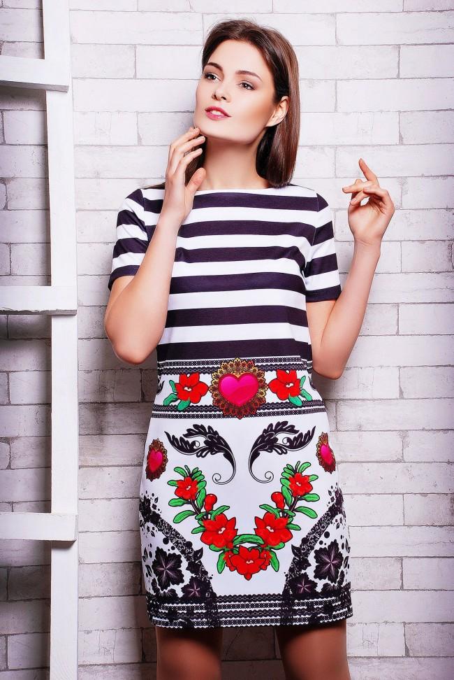 """Платье средней длины с короткими рукавами - """"Missis"""" (PL-1119F)"""